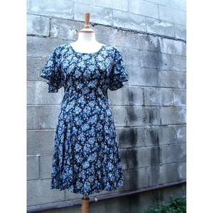 Vintage 90s Blue Floral Grunge Mini Dress SMALL